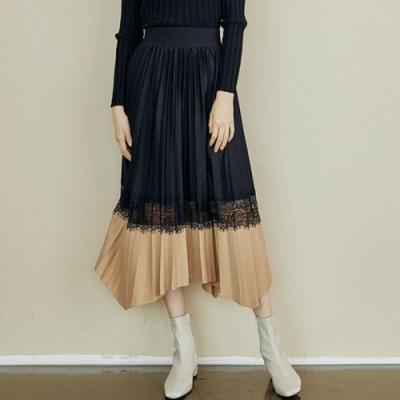 La Belleza黑色鬆緊腰百摺配色拼接蕾絲鏤空百摺長裙大擺裙
