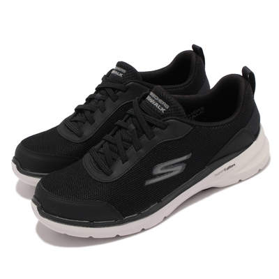 Skechers 休閒鞋 Go Walk 6 機能 健走鞋 男鞋 輕量 穩定 支撐 避震 緩衝 回彈 黑 白 216204-BLK