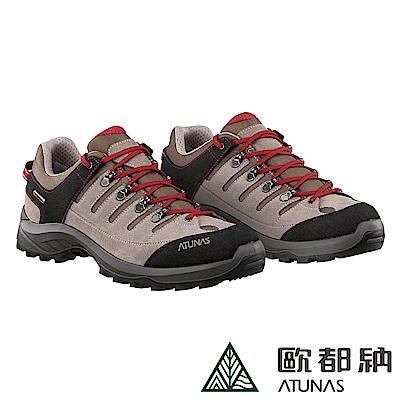【ATUNAS 歐都納】男防水透氣耐磨防滑低筒登山鞋/健行鞋GC-1803灰紅