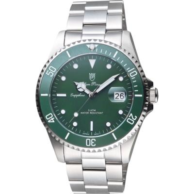 Olym Pianus 陶瓷錶圈日期手錶-綠/43mm(899831.2GS)