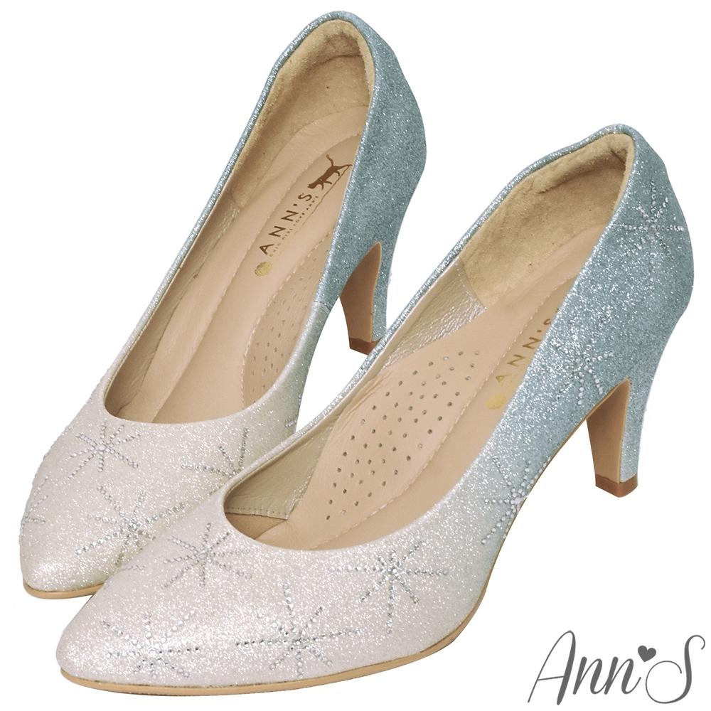 Ann'S艾莎女王-漸層色調冰雪手工燙鑽尖頭婚鞋-藍(版型偏小)