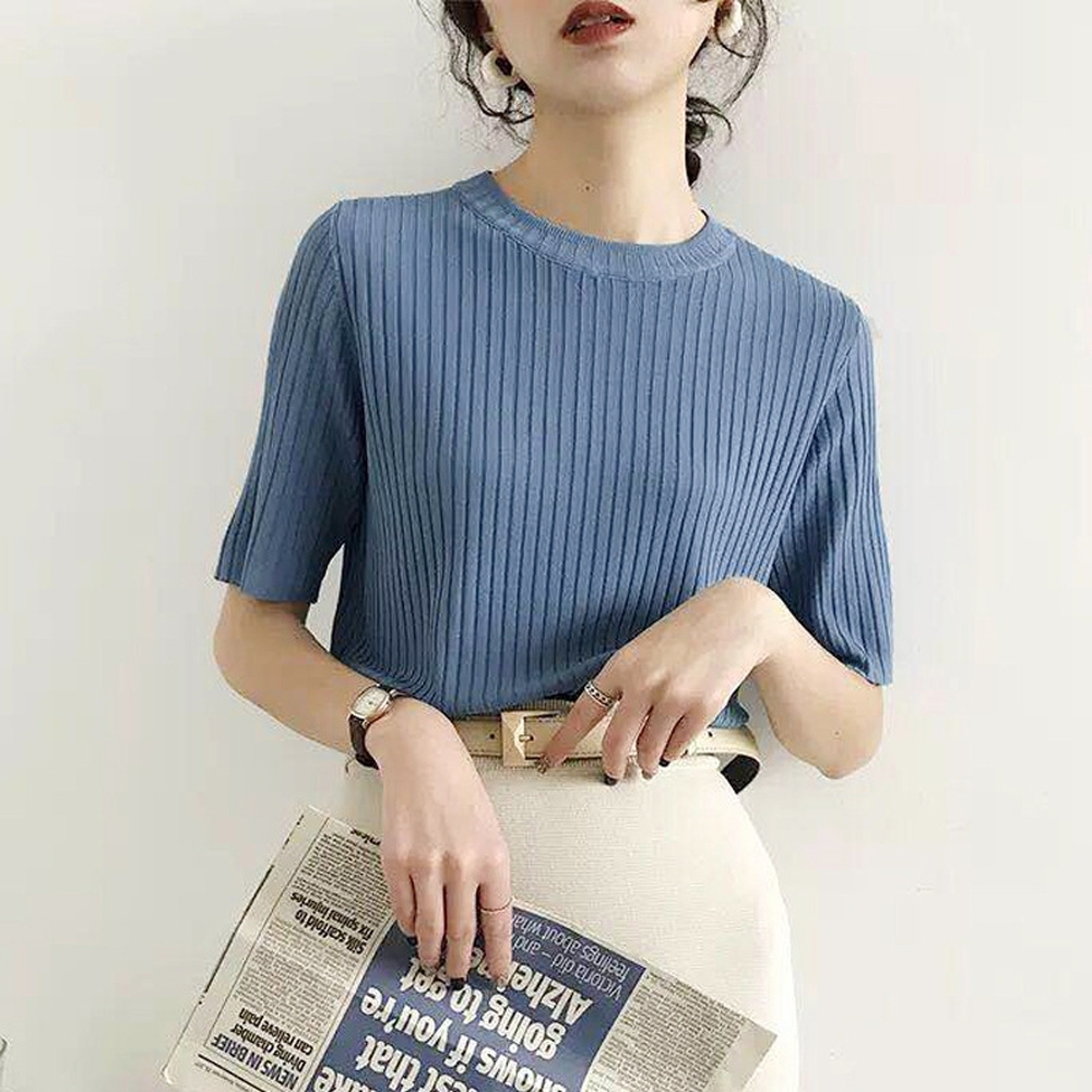 ALLK 歐楷 超彈力坑條針織上衣 共7色(尺寸F 任選) (藍色)