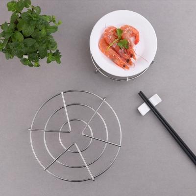 PUSH!餐具用品三腳圓形高腳加粗加厚不銹鋼鍋架隔熱墊防燙家用蒸架(2入) D220