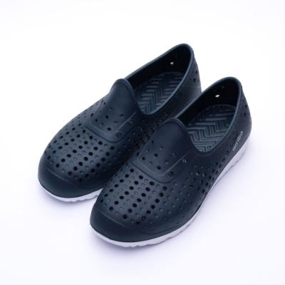 ARRIBA艾樂跑女鞋-洞洞防水懶人鞋-藍白/黑白(62473)