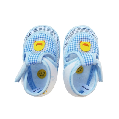 【任選】黃色小鴨《PiyoPiyo》網狀嬰兒學步涼鞋-藍