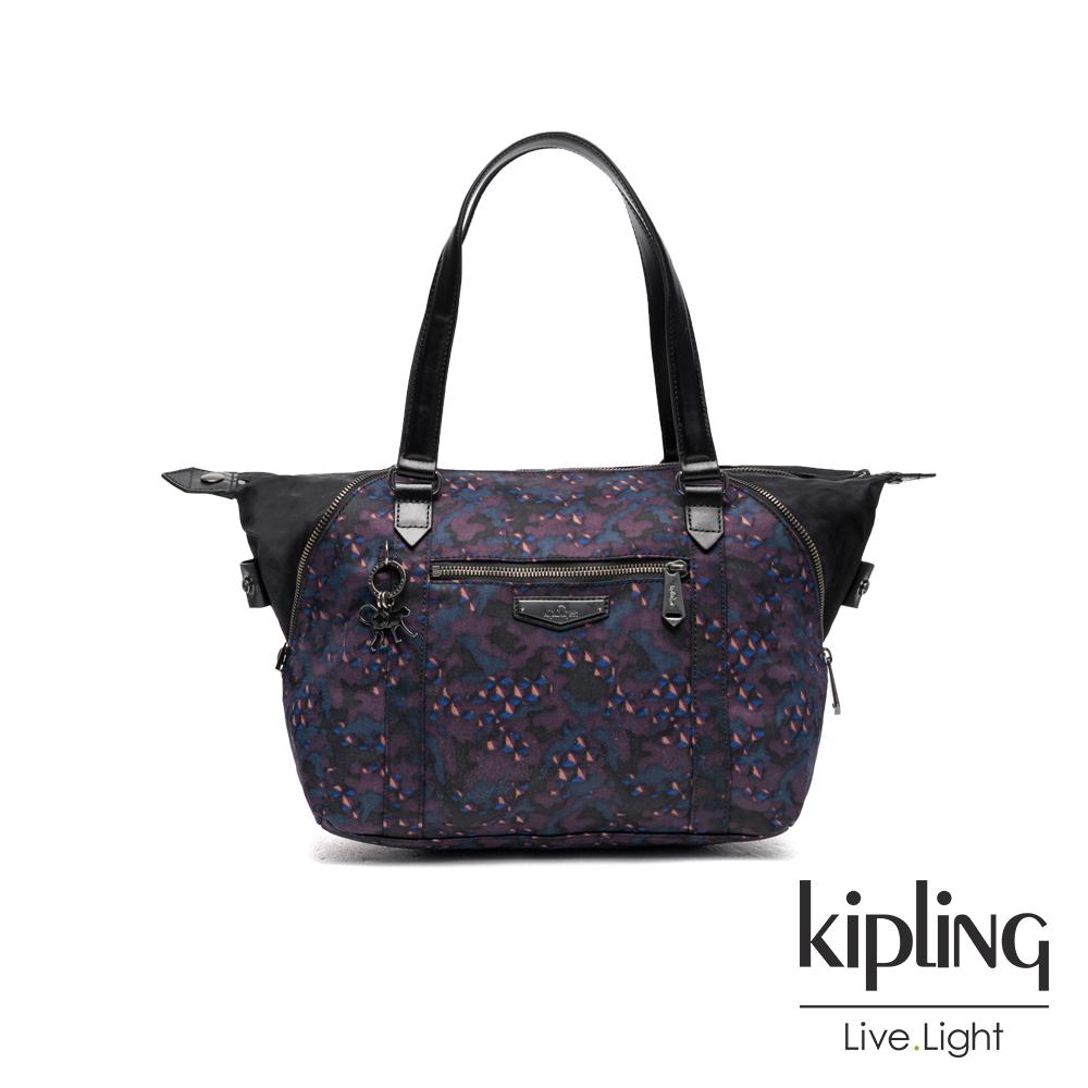 Kipling 紫色迷彩幾何印花手提側背包-ART S