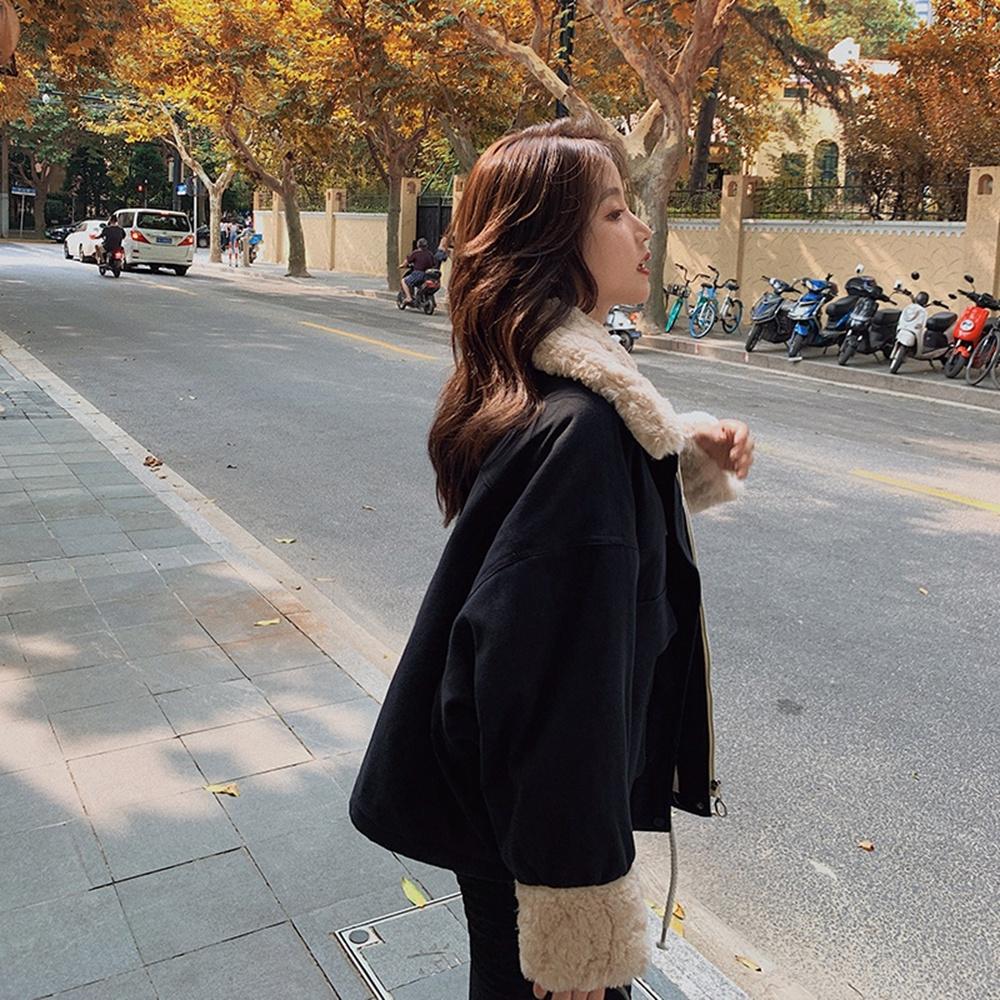 暖呼蓬鬆毛領拼接保暖寬鬆外套S-L(共五色)-WHATDAY (黑色)