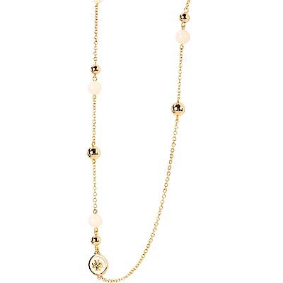 TORY BURCH Raised-Logo Rosary 珍珠墜飾琺瑯黃銅長鍊(象牙白)