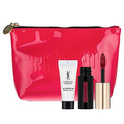 YSL奢華緞面漆光唇釉MINI 版#401 2g+綻白肌密牡丹保濕隔離乳3ml+化妝包