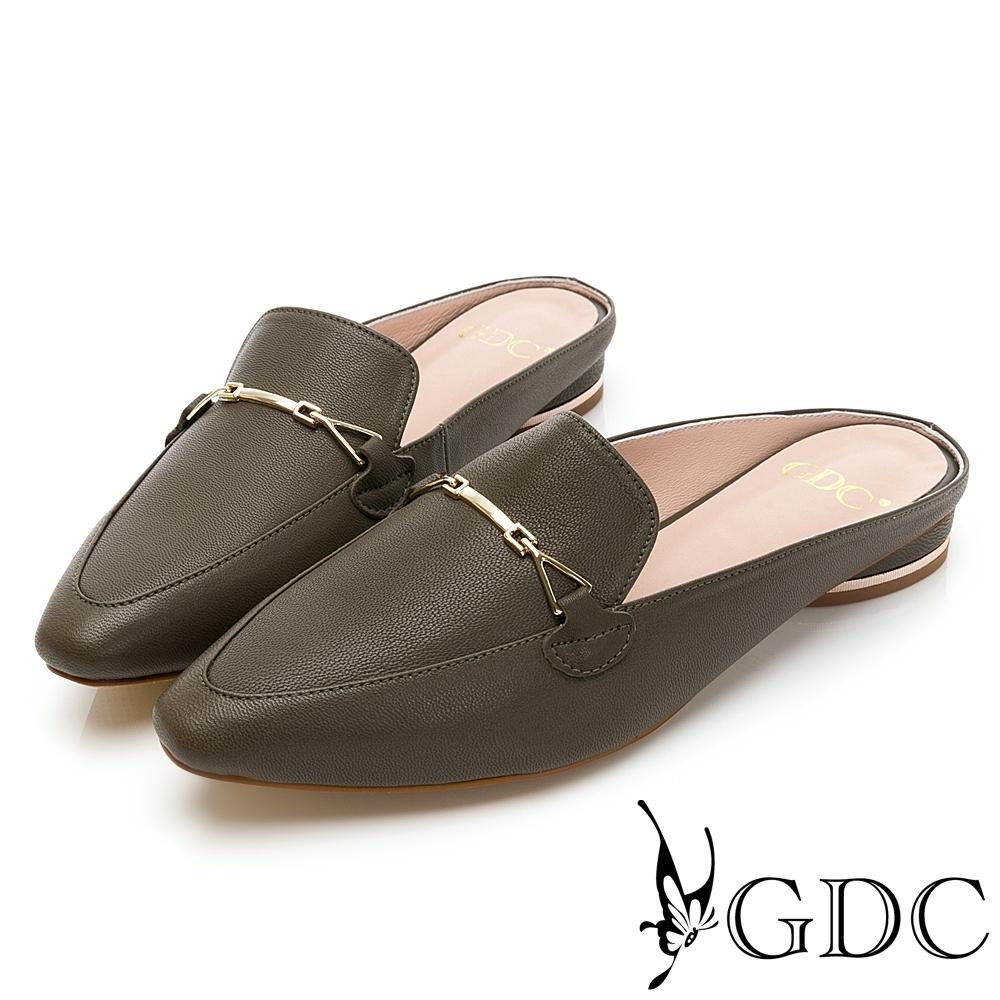 GDC-韓系真皮百搭休閒優雅金扣飾尖頭穆勒拖鞋-綠色