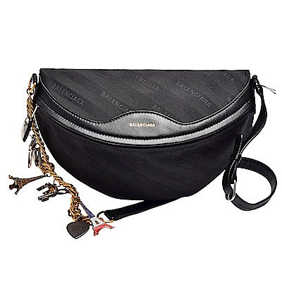 BALENCIAGA 品牌標誌緹花布皮革飾邊巴黎地標金屬吊飾腰/斜背包(黑)