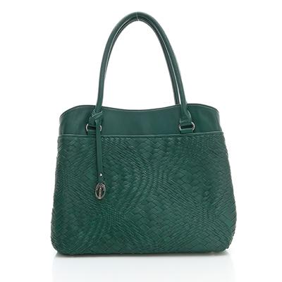 義大利Terrazzo - 全羊皮手工編織OL三隔層-彩綠色23G4545B10304