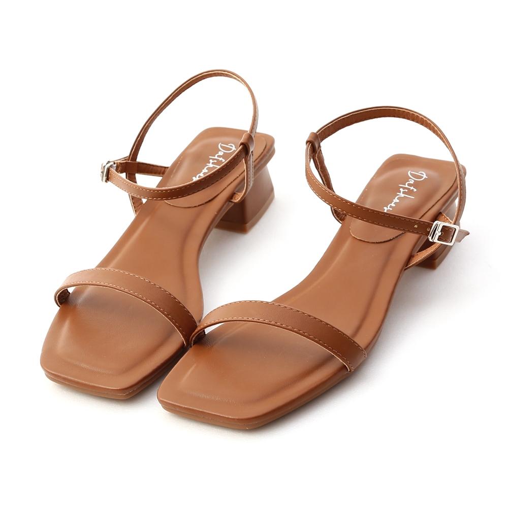 D+AF 浪漫輕夏.一字繫踝方頭低跟涼鞋*棕