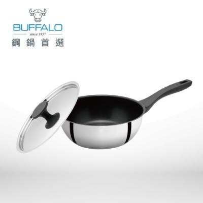 Buffalo牛頭牌 雅登不銹鋼不沾平鍋24cm/3.0L(含鍋蓋)