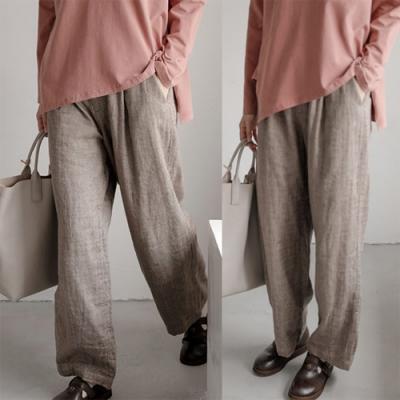 休閒褲-稀疏亞麻寬管棉麻寬鬆直筒長褲-設計所在
