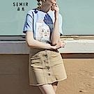 SEMIR森馬-顯瘦推薦款排釦造型抽鬚短裙-女(2色)