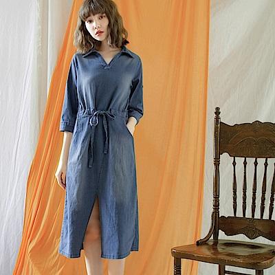 復古刷色半開襟縮腰單寧七分袖洋裝-OB大尺碼