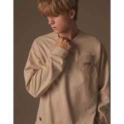 CACO-麂皮絨口袋大學T(二色)-情侶款-男【A1AR025】