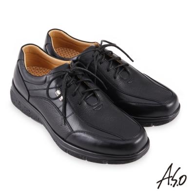 A.S.O  機能休閒 超能耐II代綁帶商務休閒鞋-黑