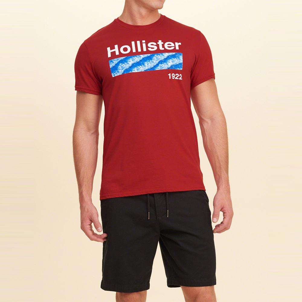 海鷗 Hollister HCO 經典印刷海洋風情設計短袖T恤-紅色