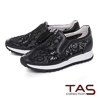 TAS 水鑽透膚網布內增高休閒鞋-性感黑