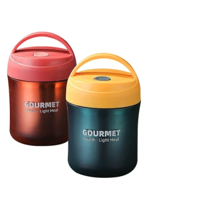 304不鏽鋼 攜帶式 手提 湯杯 密封罐 保溫 密封 茶 水杯 500ml (附 湯勺) 紅色-紅色500ml*1