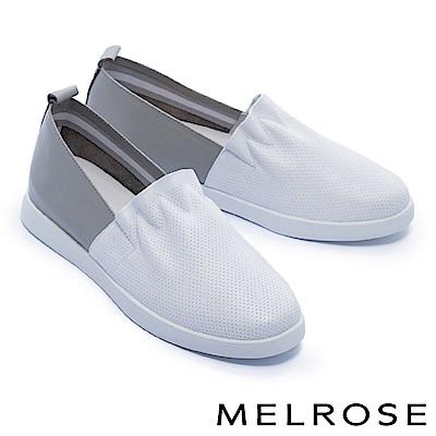 休閒鞋 MELROSE 簡約清新抓皺荷葉邊厚底休閒鞋-白