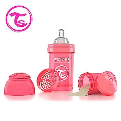 Twistshake 瑞典時尚 彩虹奶瓶/防脹氣奶瓶180ml/奶嘴口徑0.3mm-蜜桃紅