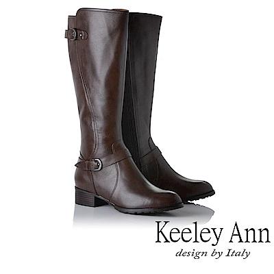 Keeley Ann 騎士風格~MIT雙釦帶全真皮質感長靴(咖啡色)