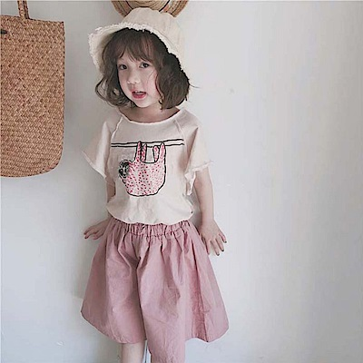 小衣衫童裝  日系不修邊短袖T恤+甜美粉色休閒5分大寬褲1080309