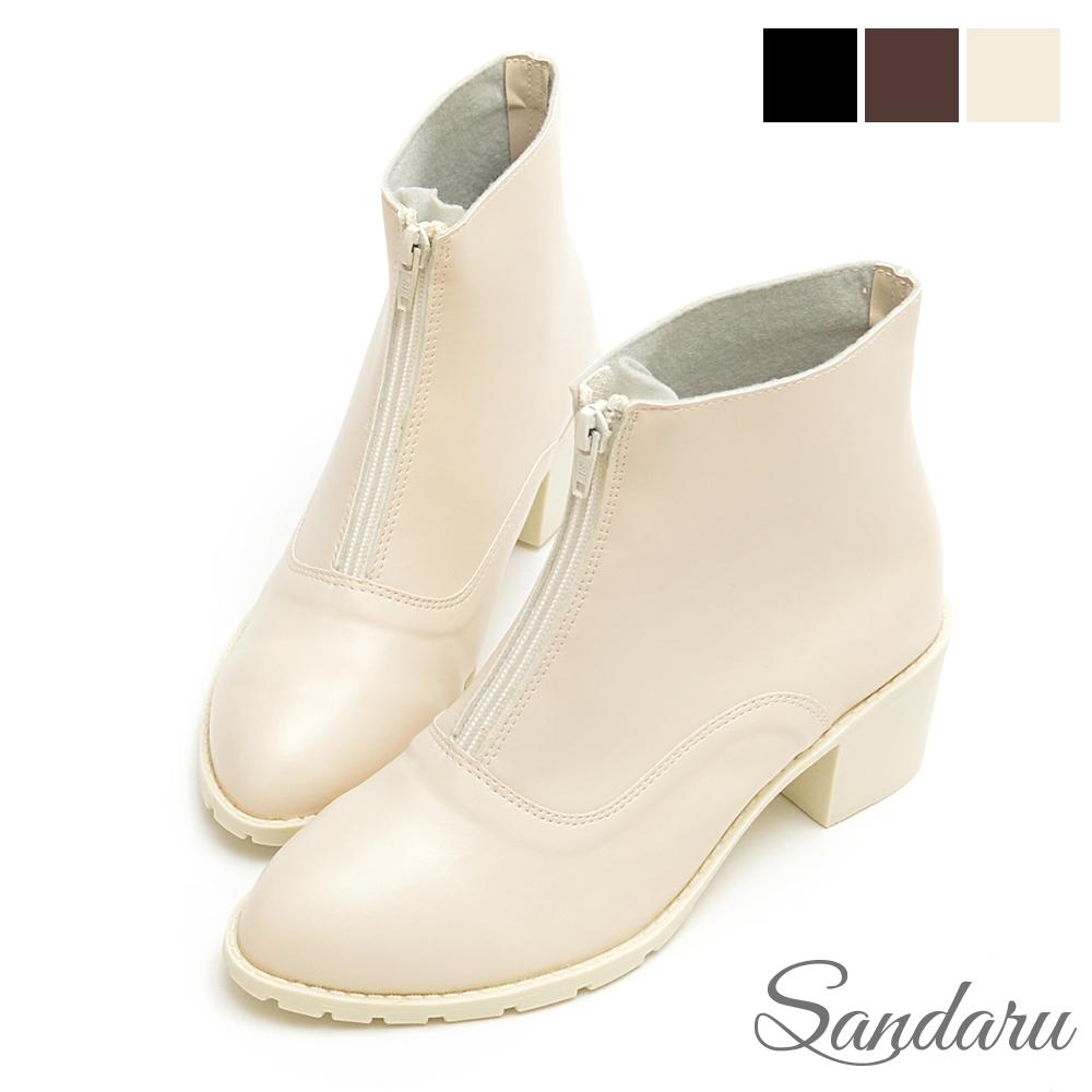 山打努SANDARU-短靴 前拉鍊簡約皮革粗跟靴-米