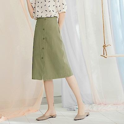 高含棉排釦設計中長裙-OB嚴選