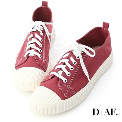 D+AF 玩色趣味.多色帆布休閒餅乾鞋*紅