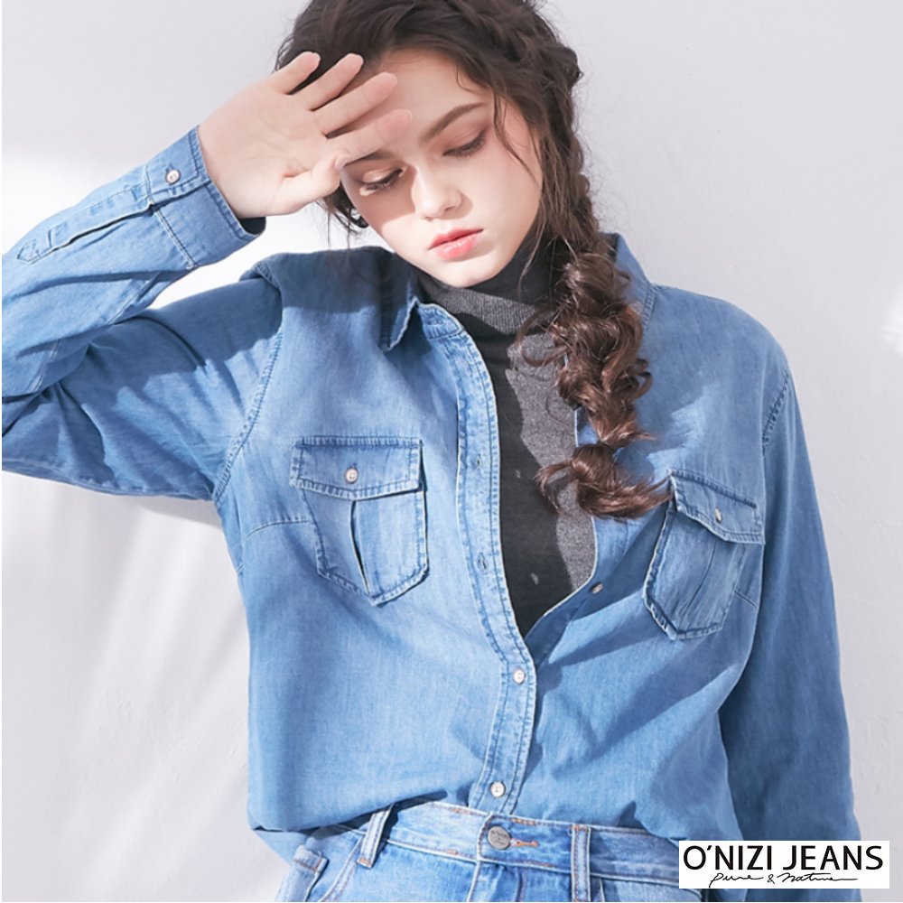 onizi-經典牛仔襯衫-女-藍