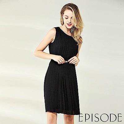 EPISODE - 簡約時尚百褶腰帶修身洋裝(黑)