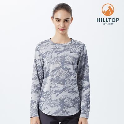 【hilltop山頂鳥】女款Polygiene抗菌緹花保暖刷毛衣H51FL1 灰
