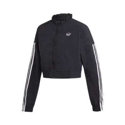adidas 外套 Windbreaker Jackets 女款 愛迪達 三線 短版 穿搭 花苞領口 黑 白 FU3859