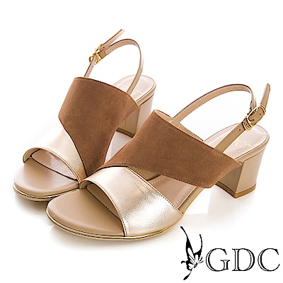 GDC-真皮異材拼接質感典雅涼鞋-棕色