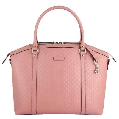 GUCCI Guccissima 粉紅色真皮雙G壓紋斜背/手提包(大)