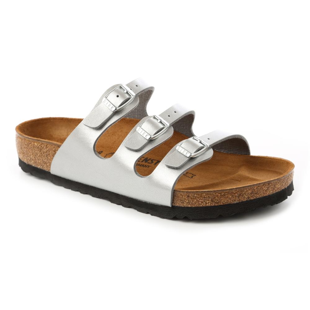 勃肯BIRKENSTOCK 954381佛羅里達 三條復古拖鞋(霧銀)