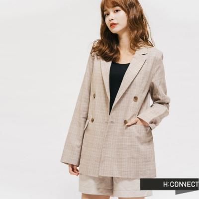 H:CONNECT 韓國品牌 女裝-俐落棉麻格紋西裝外套-棕