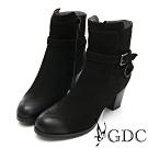 GDC-真皮素色基本側扣環帥氣風擦色粗跟短靴-黑色