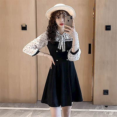 DABI 韓系波點蝴蝶結雪紡袖拼接修身顯瘦長袖洋裝