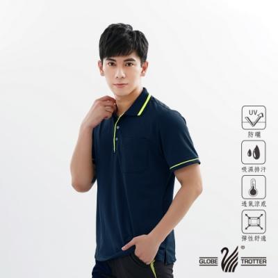 【遊遍天下】MIT男款吸濕排汗抗UV機能POLO衫GS1001丈青綠