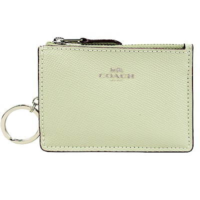 COACH 馬車防刮皮革後卡夾鑰匙零錢包(淡綠)