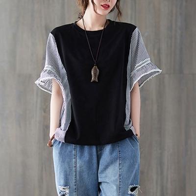 La Belleza圓領素面側條紋拼接大擺荷葉袖造型上衣