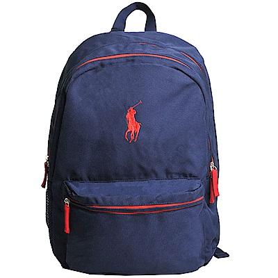 POLO Ralph Lauren 品牌LOGO圖騰刺繡尼龍新款大後背包(深藍/紅馬)