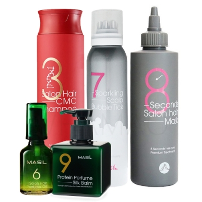 MASIL 全方位洗護五件組(洗髮精300ml+髮膜 200ml+7奇150ml+精華180ml+精油50ml)