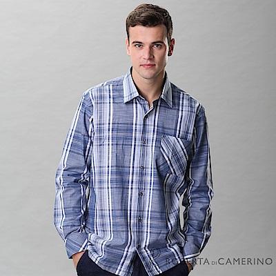 ROBERTA諾貝達 進口素材 台灣製 帥氣休閒 純棉長袖襯衫 藍色