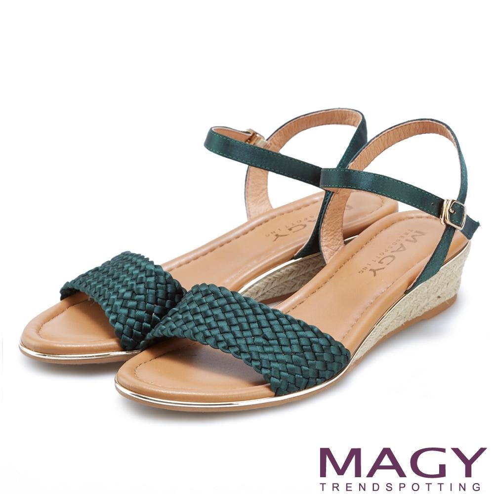 MAGY 異國質感編織楔型涼鞋 綠色
